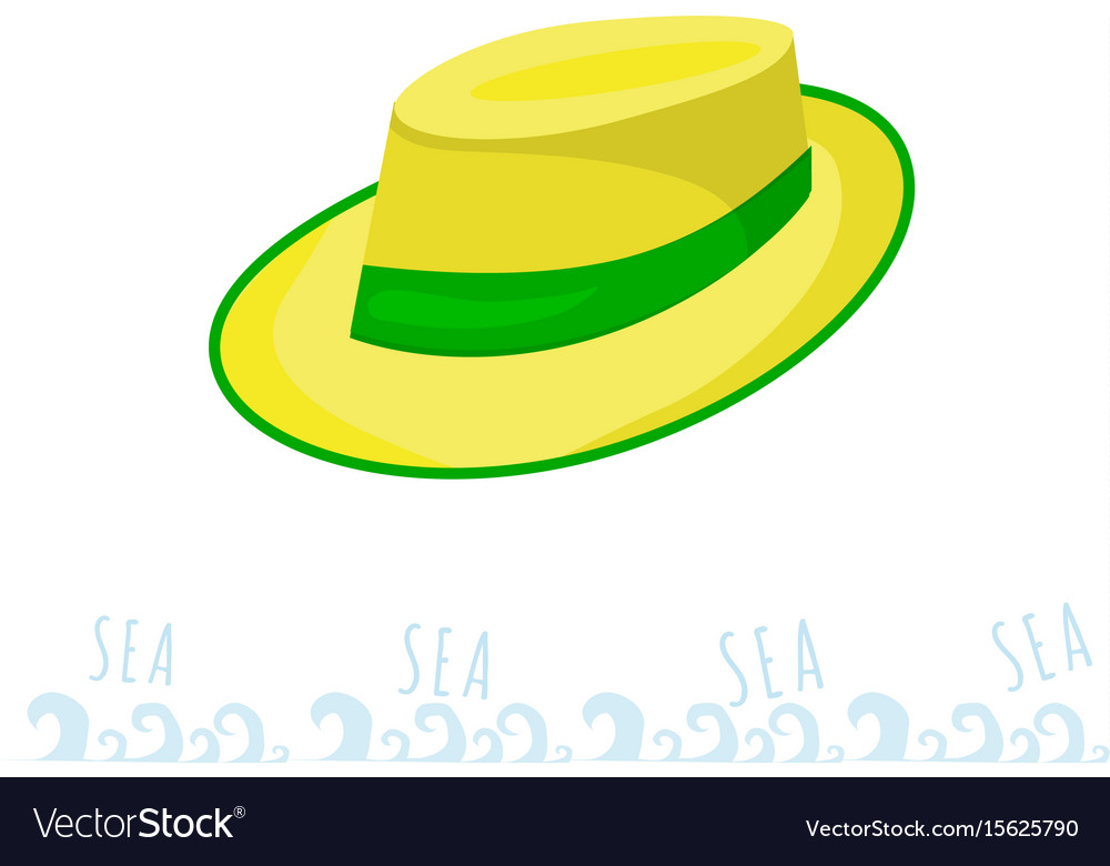 A man straw straw hat with a green ribbon yellow