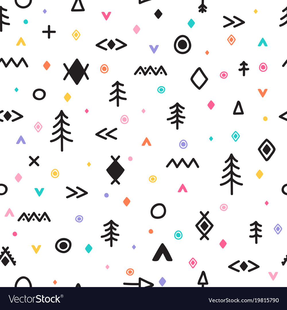 Abstract tribal background hand drawn seamless