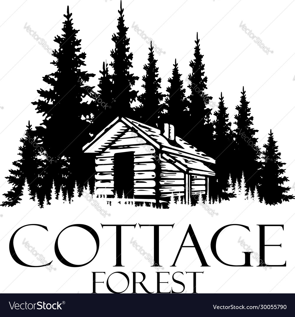 Cottage and pine forest silhouette logo design - v