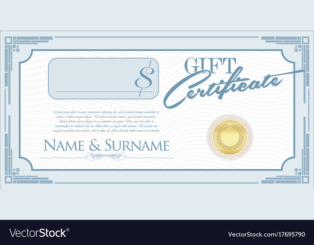 Gift Certificate Retro Design Template Royalty Free Vector