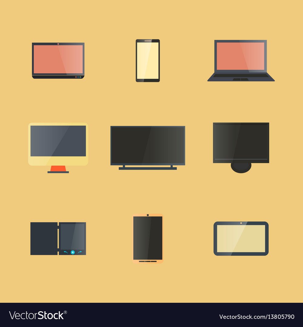 Icons digital devices with display
