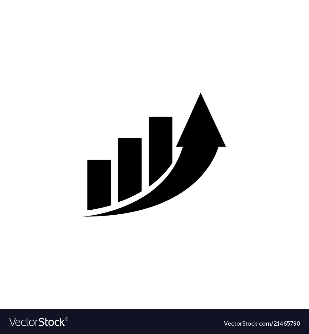 Increase profit graph growing arrow flat
