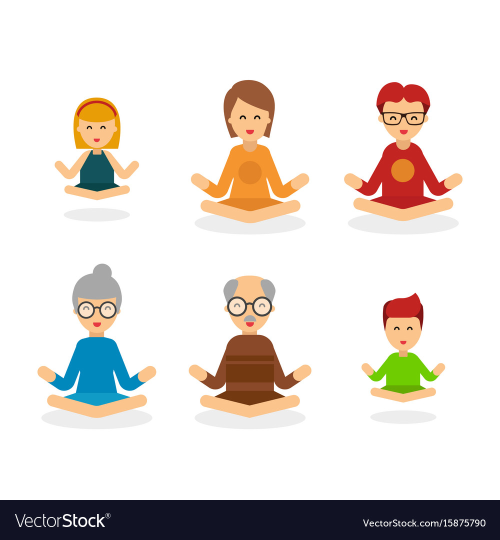 Meditation people cartoon character isolated on vector image