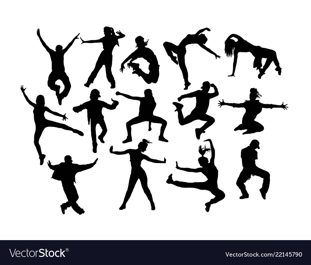 Modern dancing silhouettes