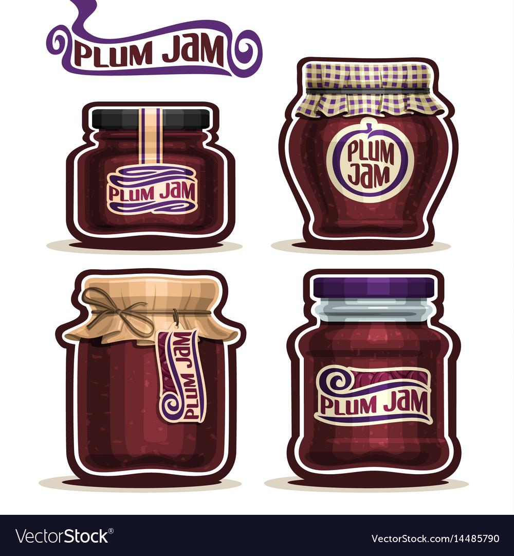 Plum jam in glass jars