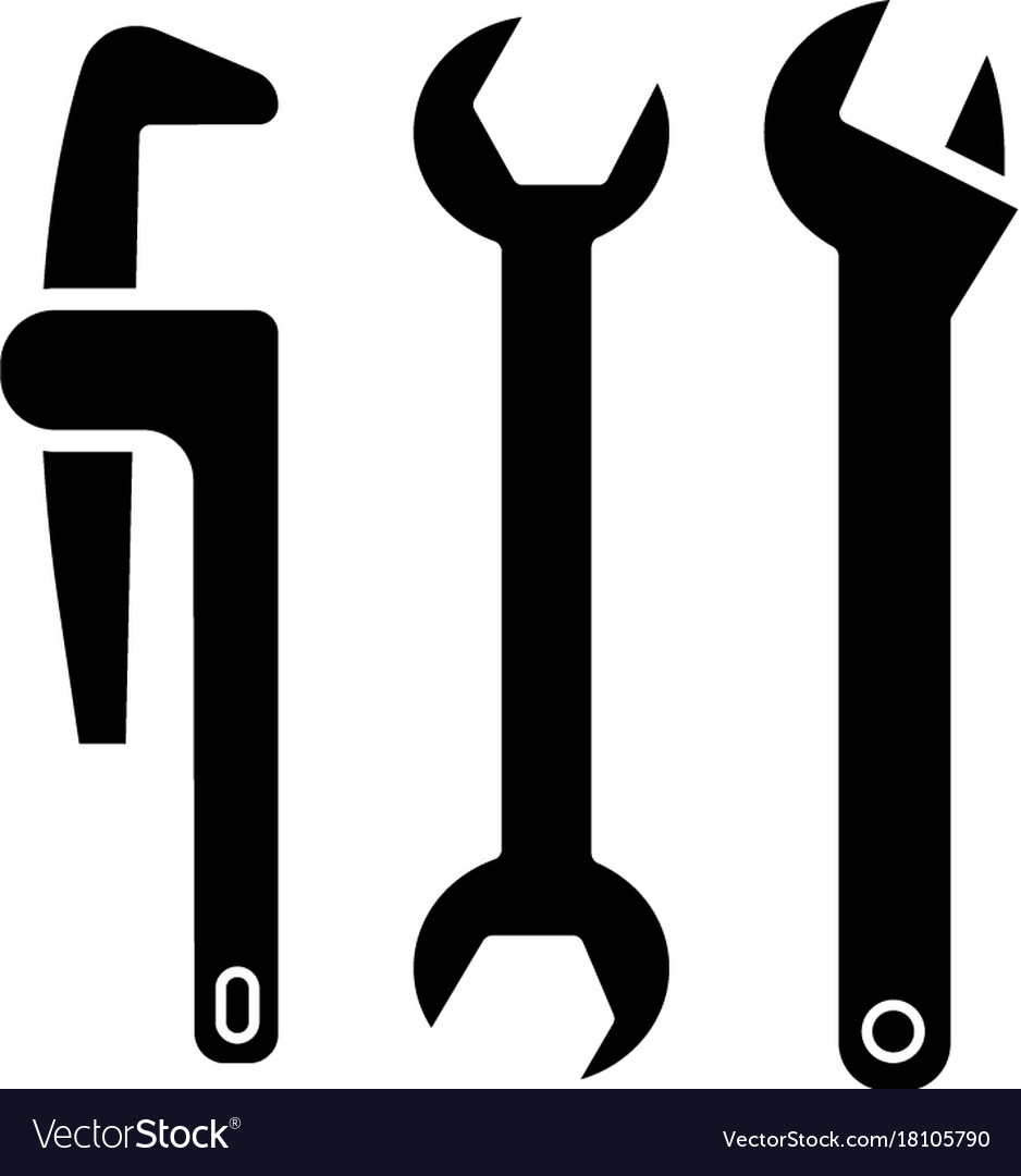plumbing tools icon black royalty free vector image
