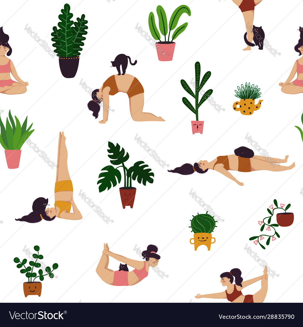 Seamless pattern girl doing yoga with a cat