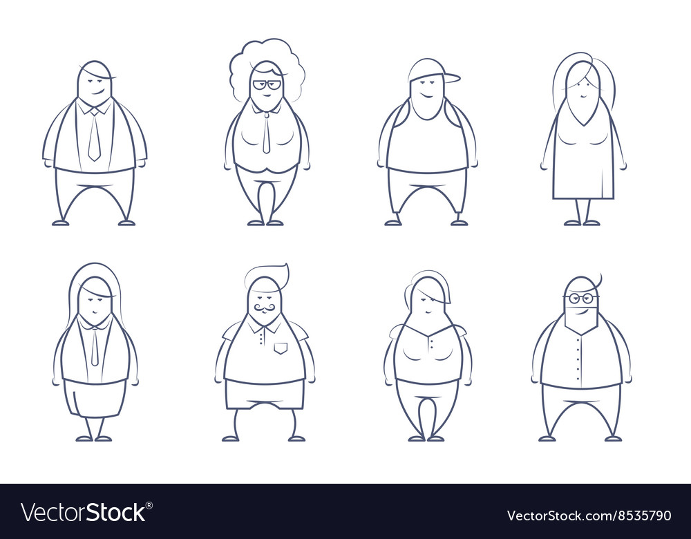 Set of line styled people