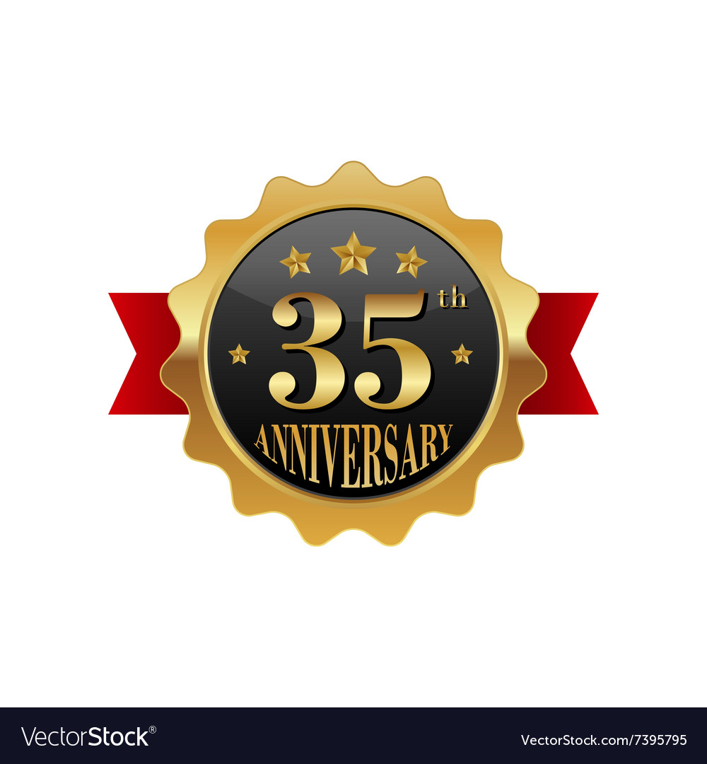 35 years anniversary golden label