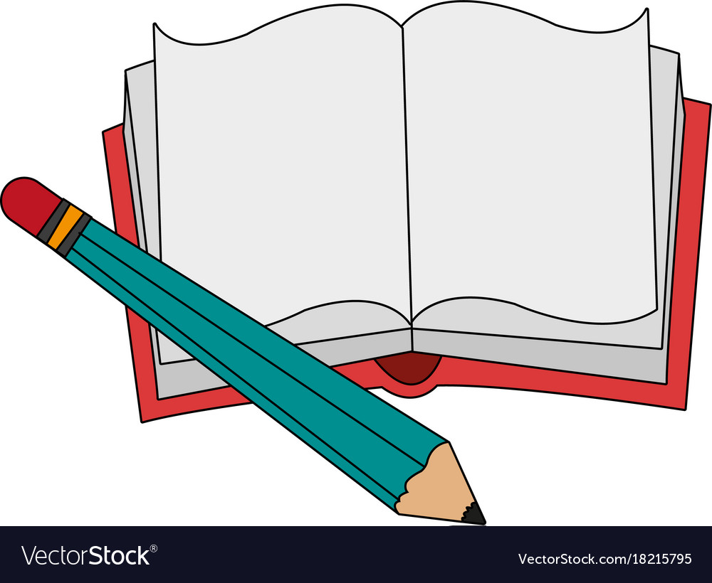 book with blank pages and pencil icon image vector image