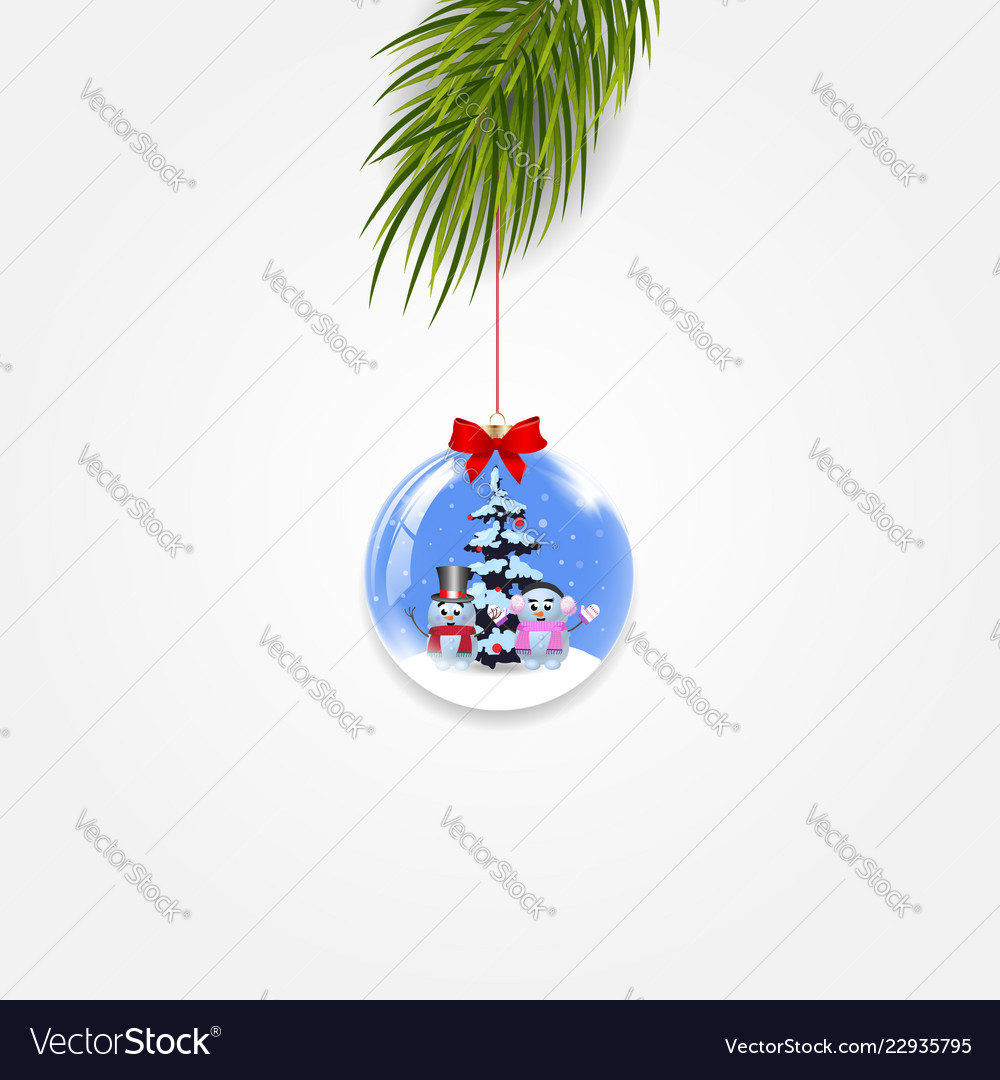 Christmas tree branch with festive ball isolated