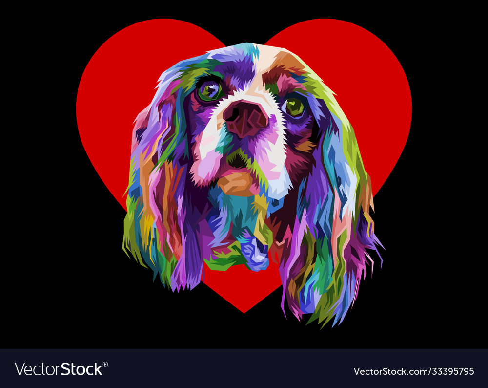 Colorful cocker spaniel dog in love heart logo