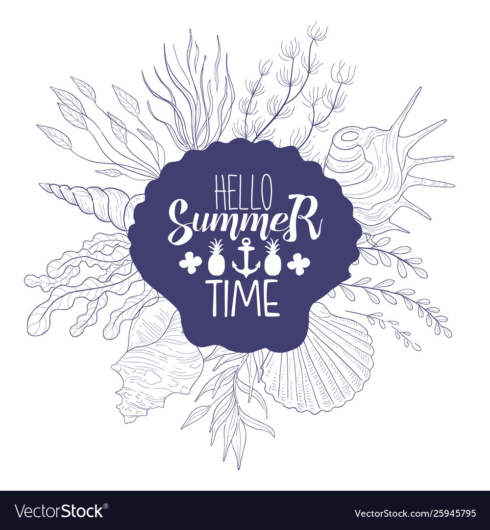 Hello summer time banner template summer time