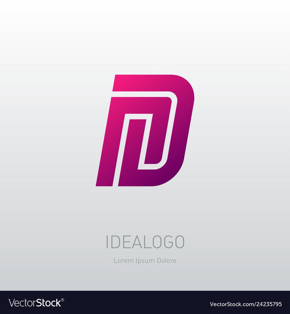 Letter n and d logo design minimal monogram