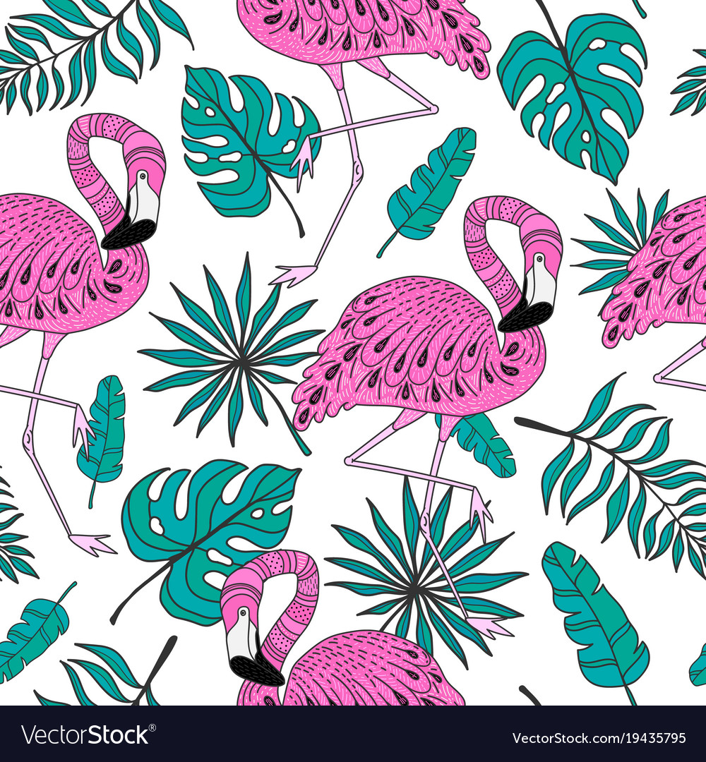 Seamless pattern with flamingo exotic leaves