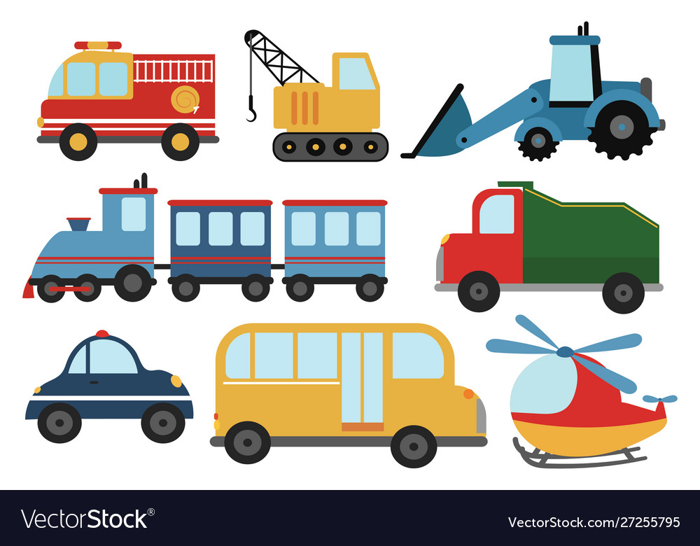 Set cartoon cars collection stylized cars