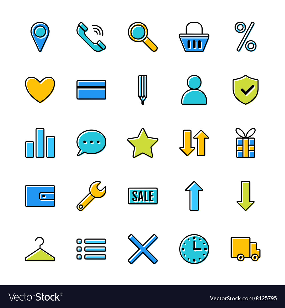 Set of icons e-Commerce flat design shopping