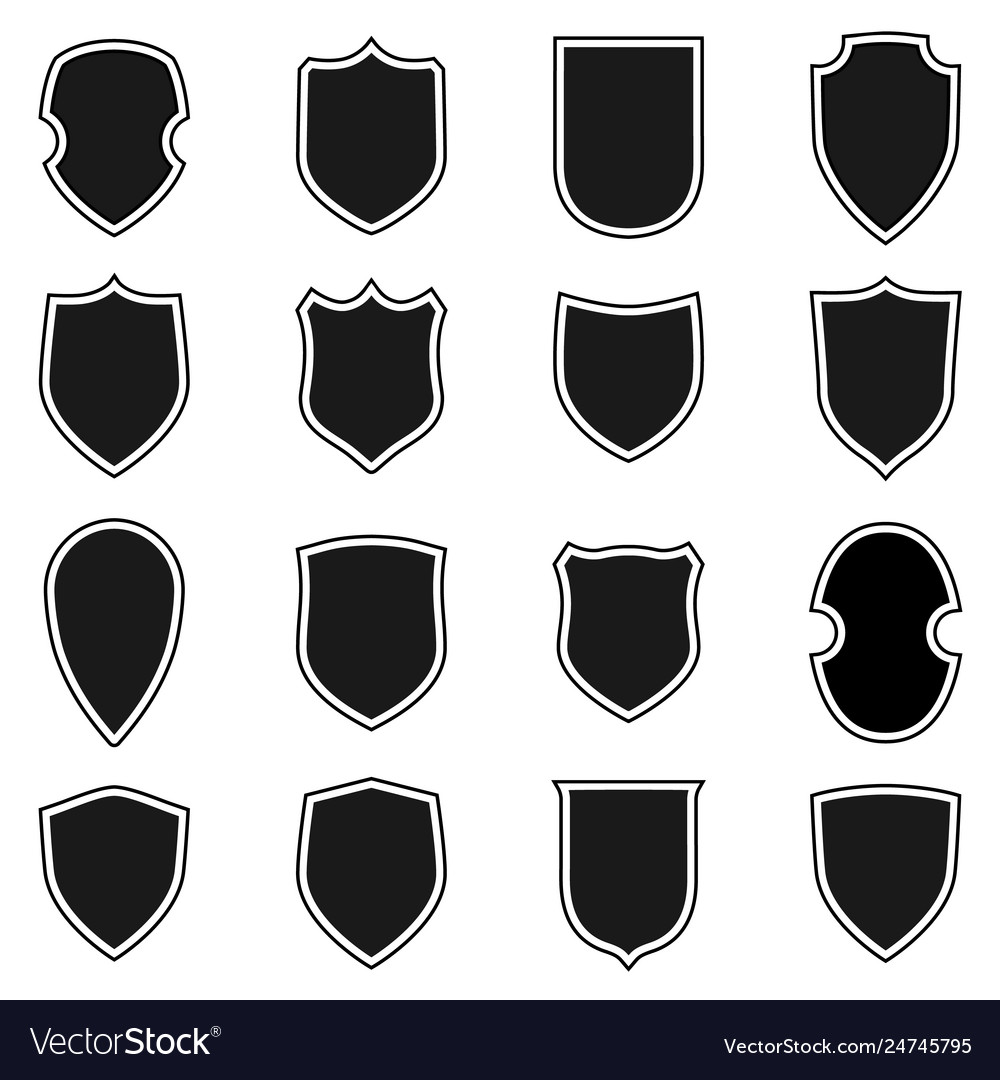 Shield shape icons set black label signs isolated