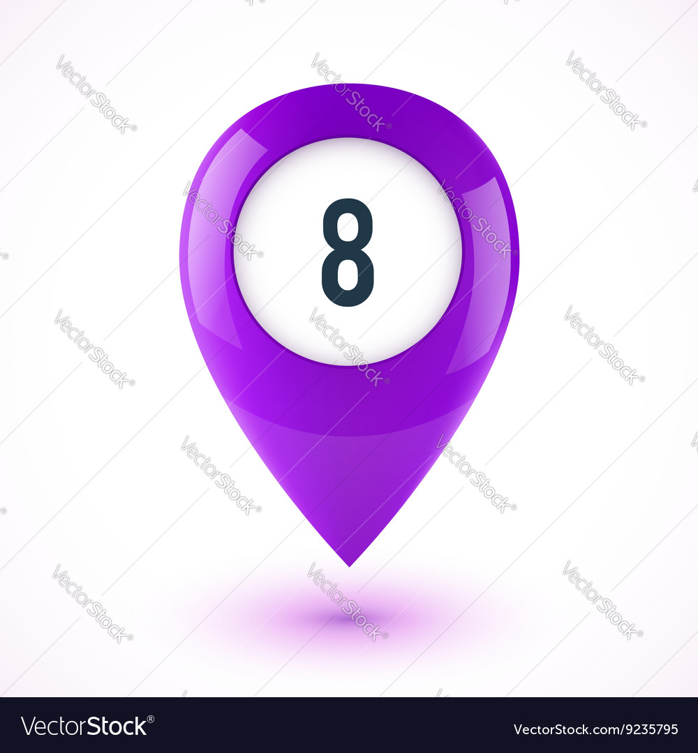 Violet realistic 3D glossy map point symbol