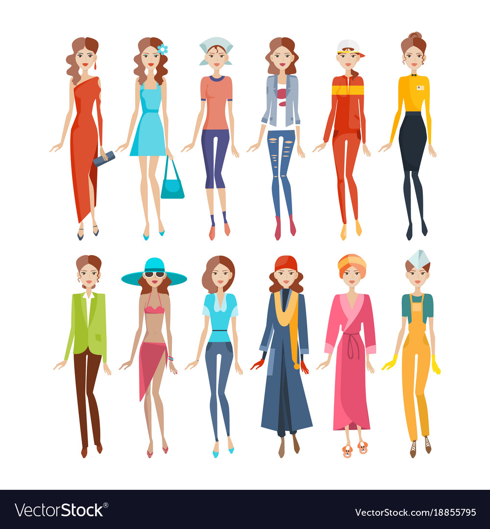 382f3ccab6c Women in different clothes evening sportswear Vector Image