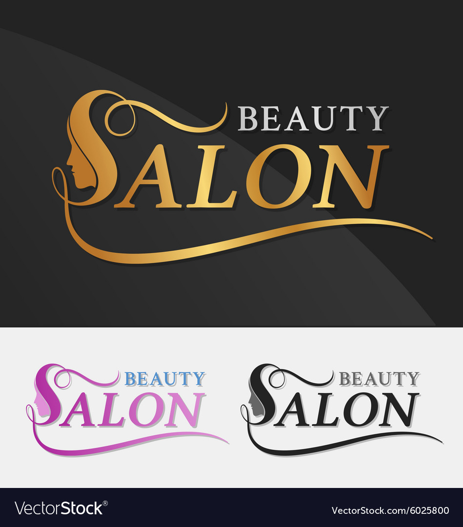 Beauty salon logo design with female face vector image