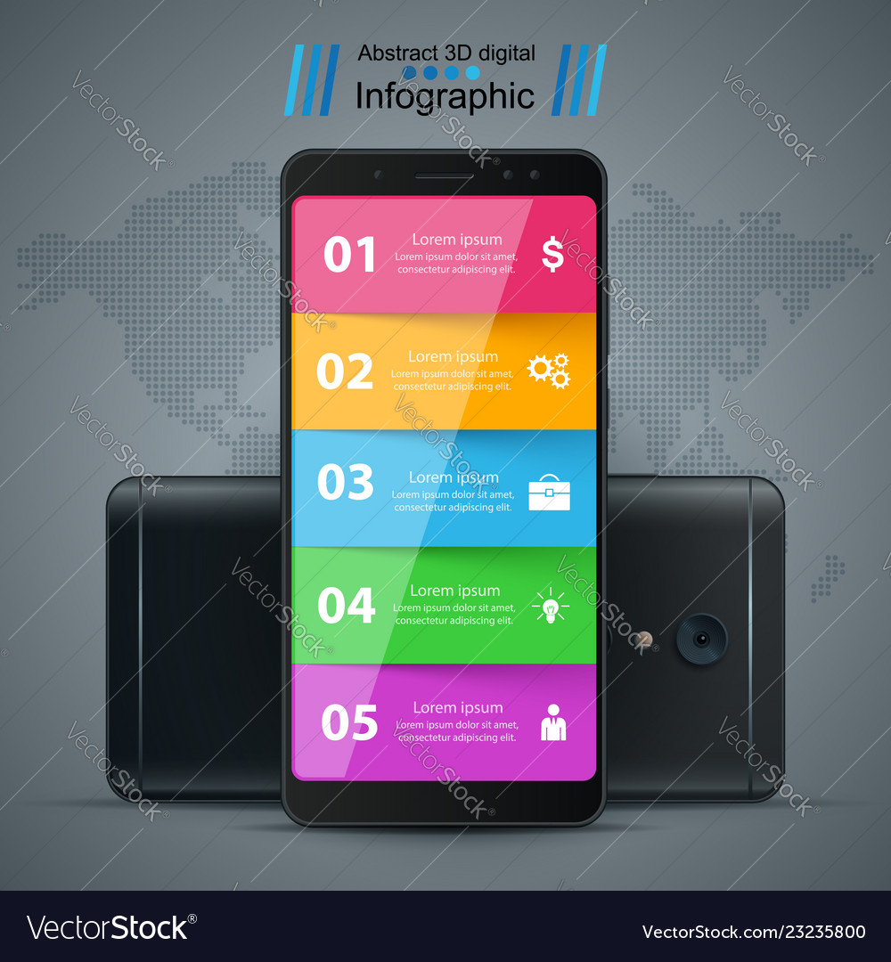 Business infographic smartphone realistic icon