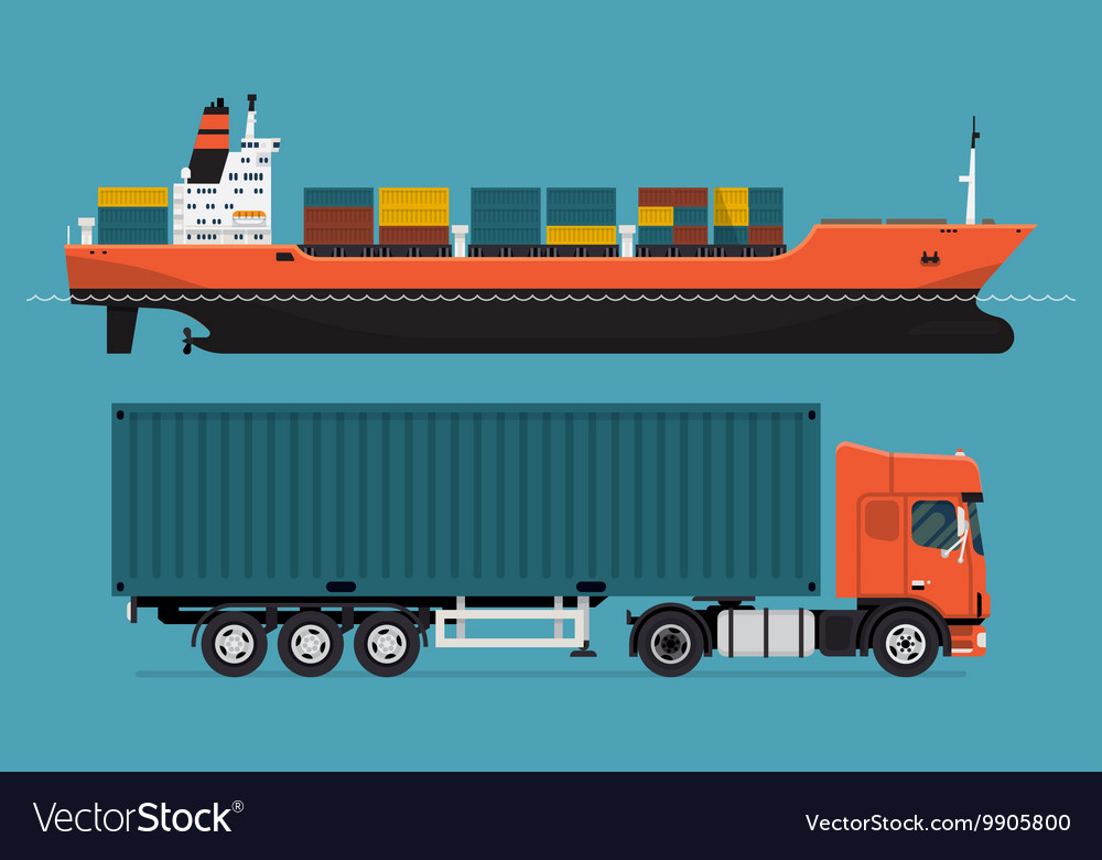 Container Ship and Truck Icon