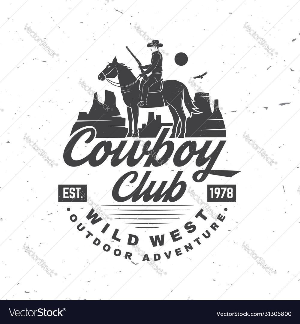 Cowboy club badge ranch rodeo concept