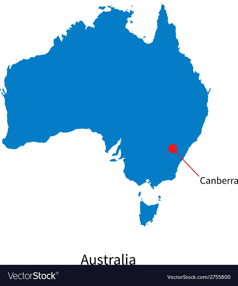 Capital Of Australia Map Detailed map of Australia and capital city Vector Image