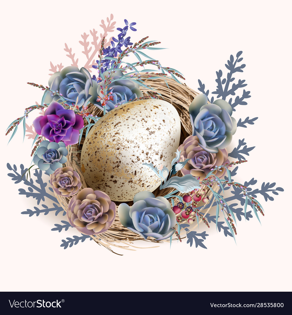Easter vintage greeting card with nest and eggs