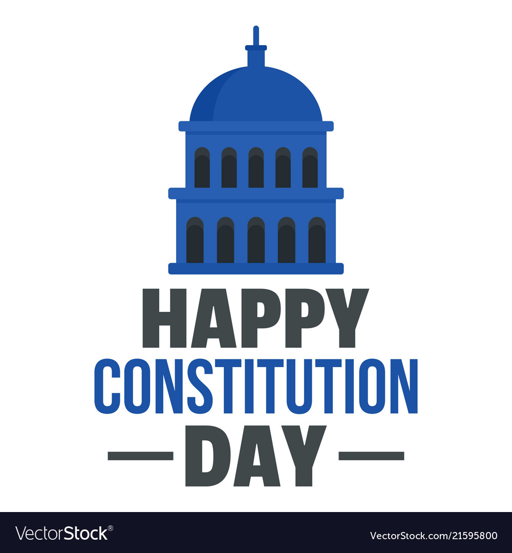 Happy american constitution day logo icon flat