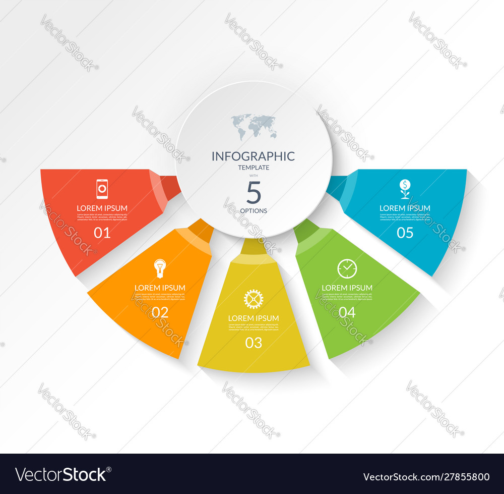 Infographic semicircle template with 5 options