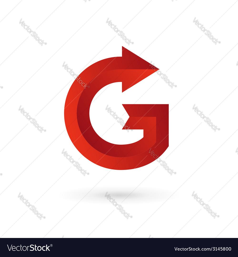 letter g arrow ribbon logo icon design template vector image