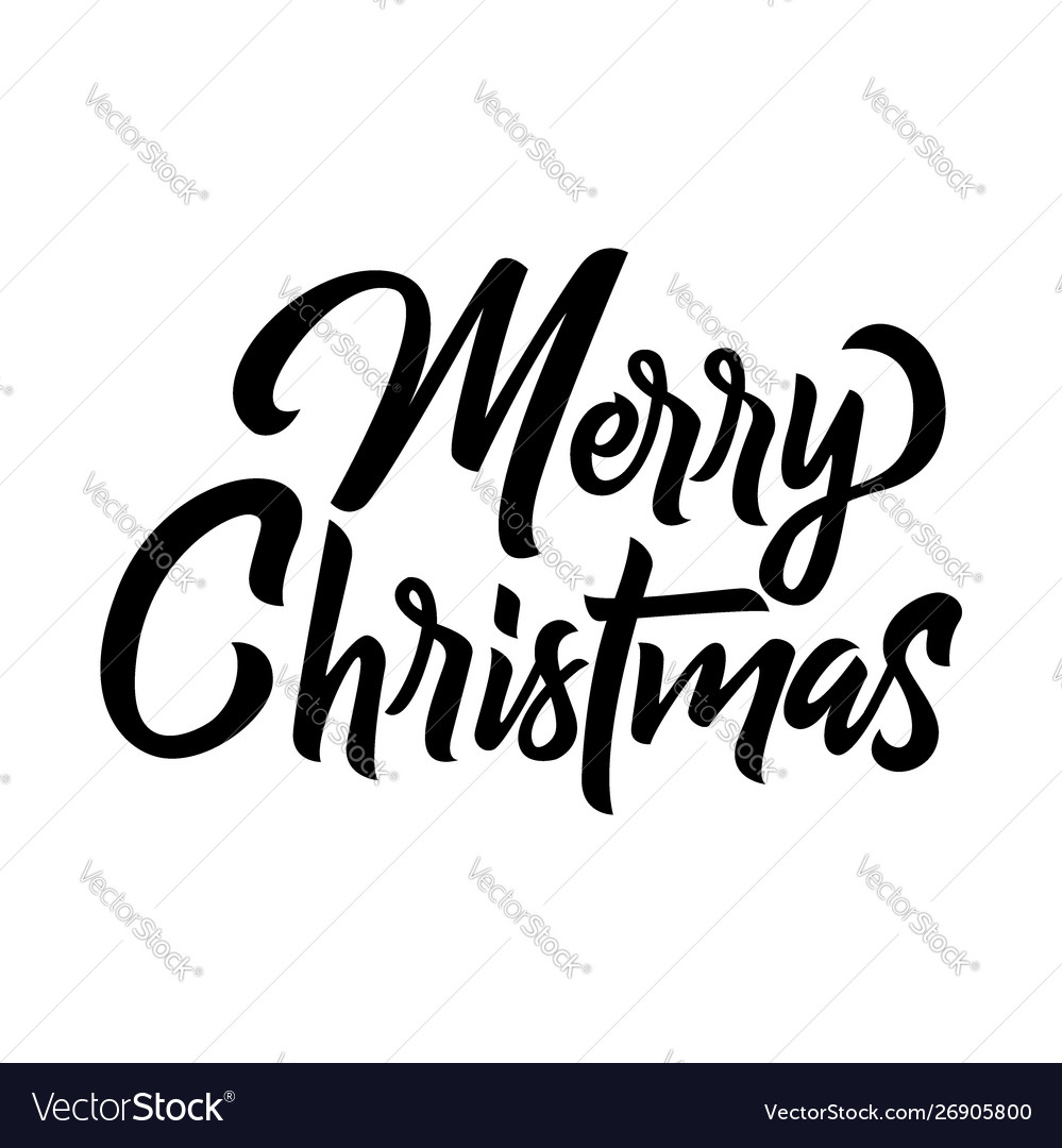 Merry christmas brush handwriting lettering