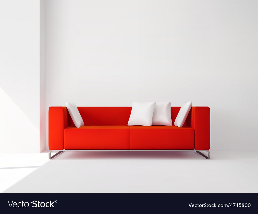 Red sofa with white pillows Royalty Free Vector Image