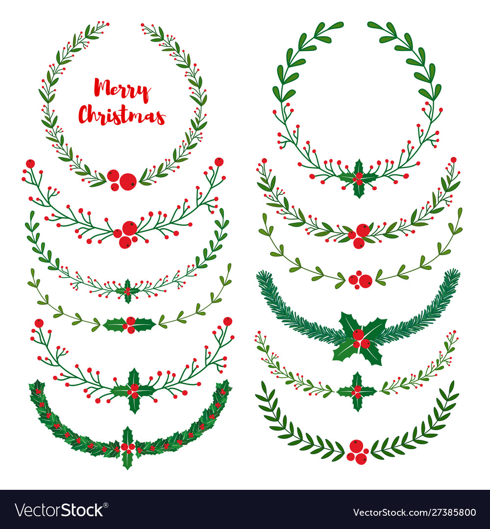 Set new year christmas doodle hand drawn