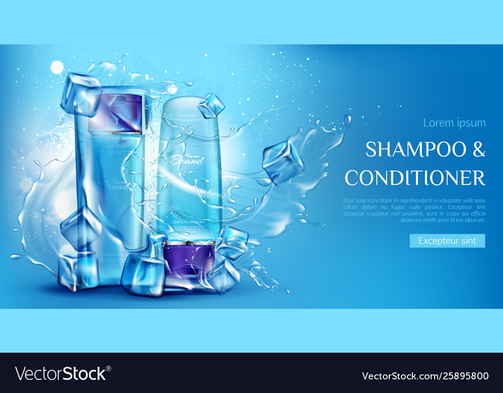 Shampoo and conditioner cosmetic bottles mockup
