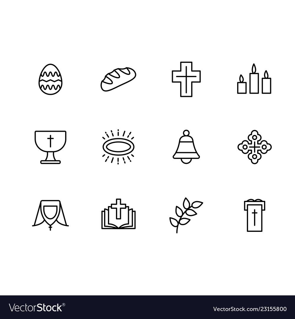 Simple set symbols religion and church line icon