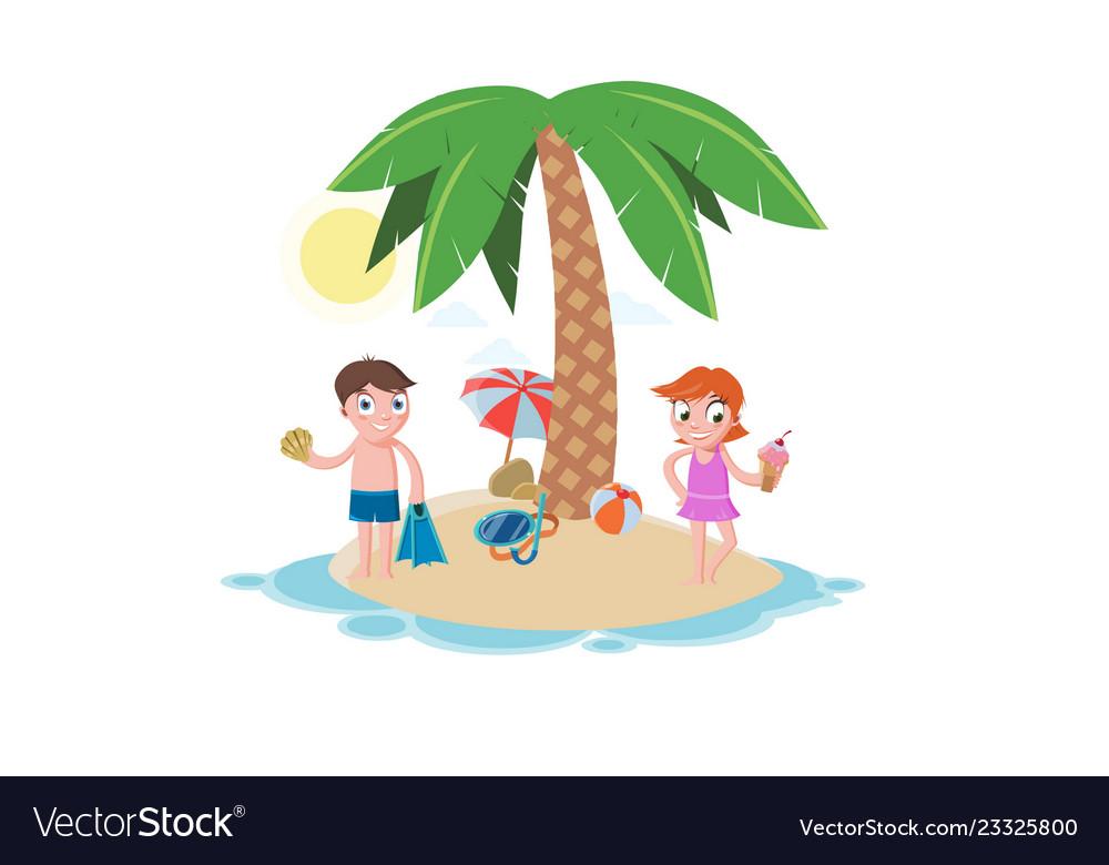 Summer beach vacation template