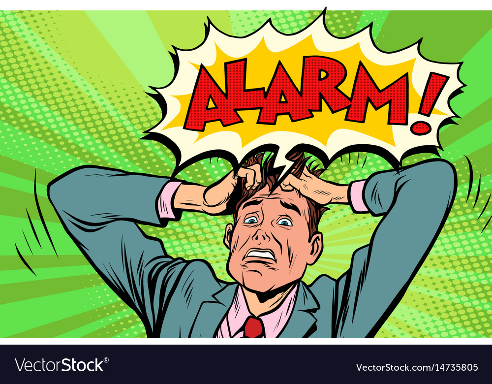 Alarm businessman in panic vector image