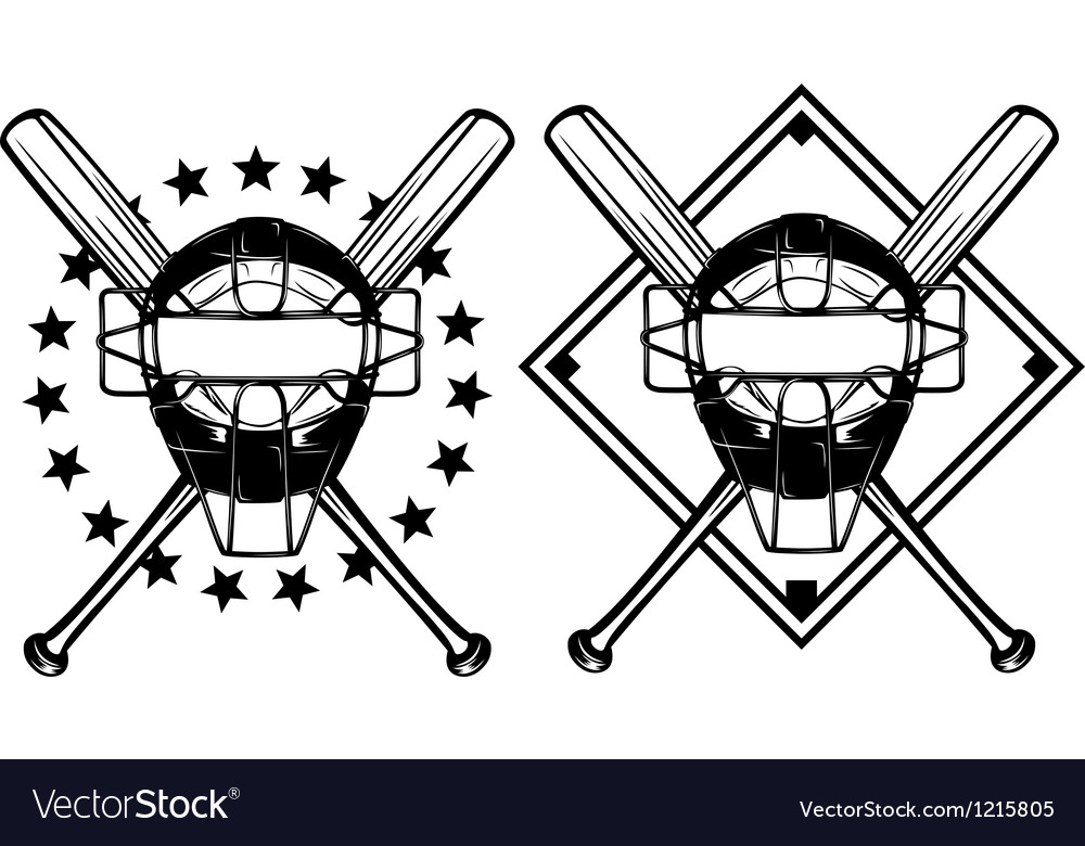 Baseball mask and crossed bats vector image