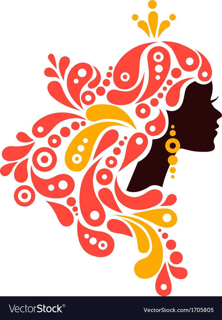 Beautiful woman silhouette Tattoo of abstract girl vector image