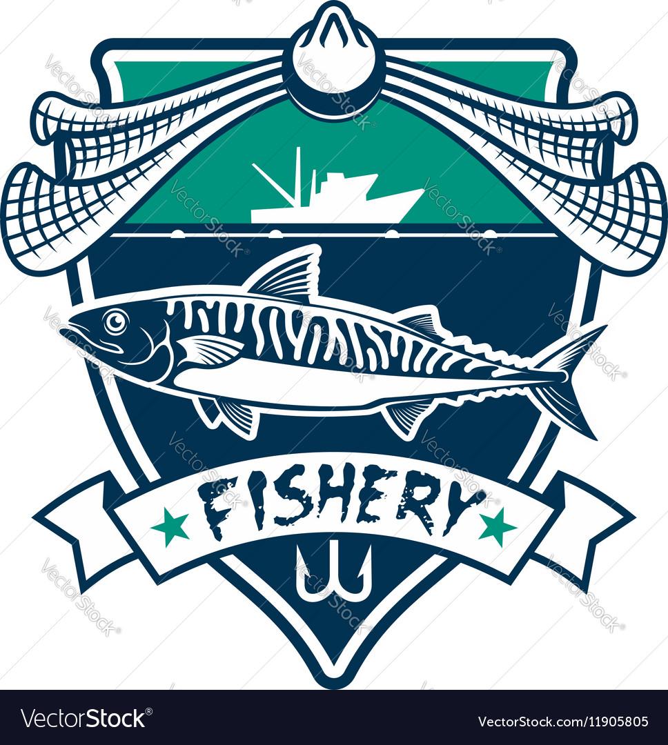 Fishery icon Fishing sport club sign