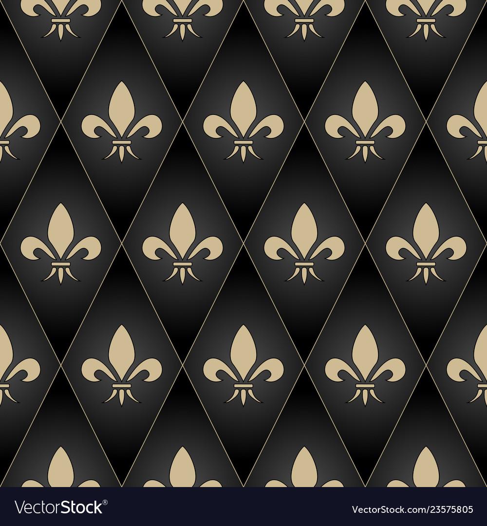 Golden fleur-de-lis seamless pattern gold glitter