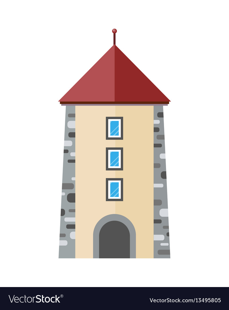Medieval city tower icon ancient stone tower