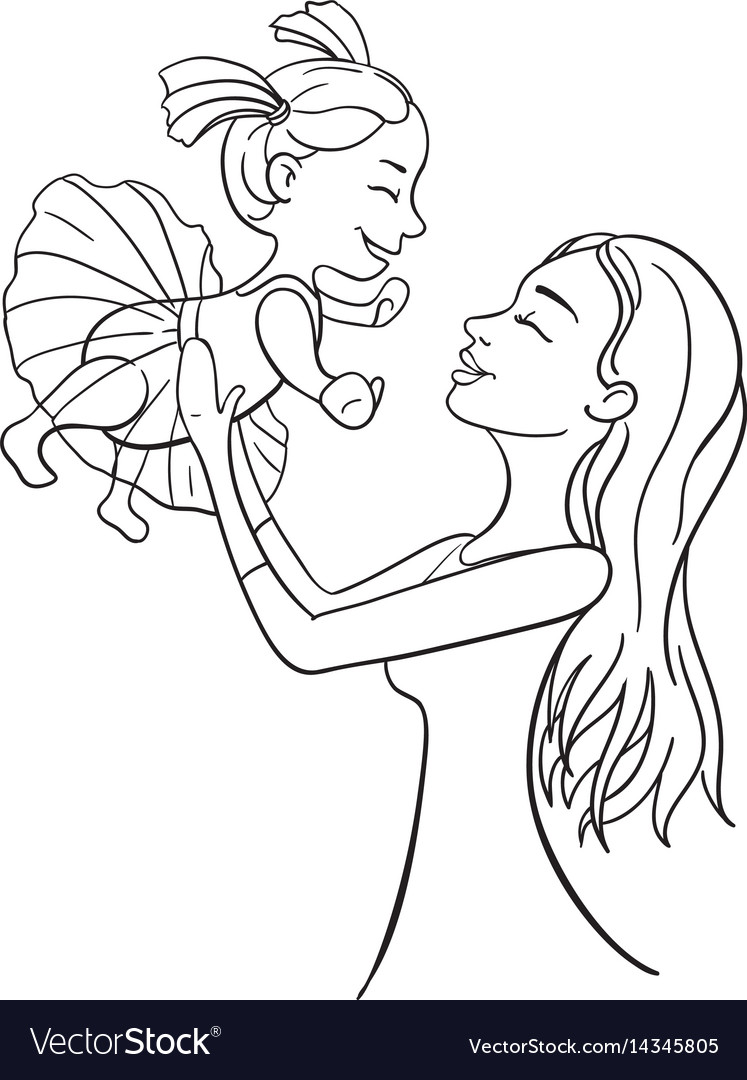 Mother and daughter outline