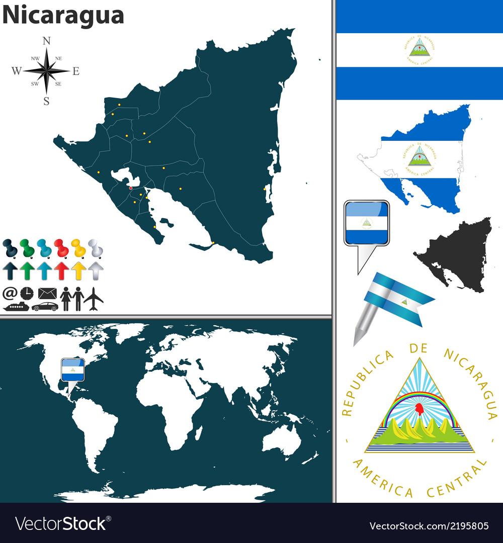 Nicaragua map world Royalty Free Vector Image - VectorStock