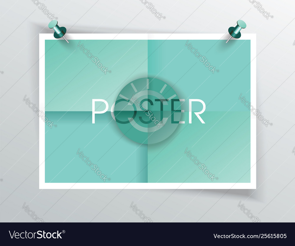 Paper label onfolded poster vector