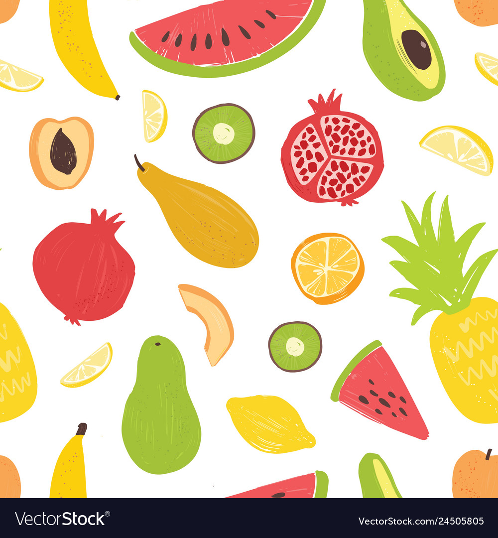 Seamless pattern with exotic tropical fruits on