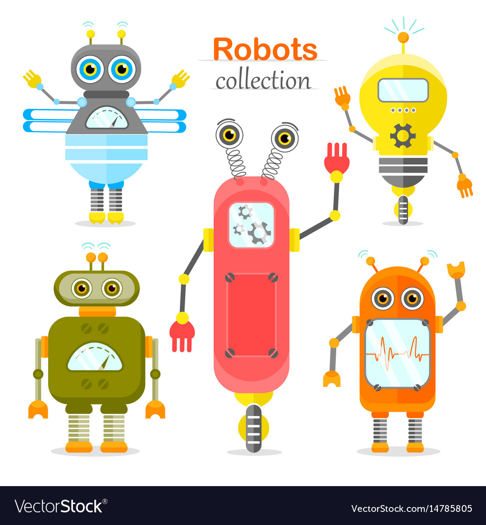 Set of robots in cartoon style